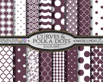 Eggplant Purple Polka Dot Digital Paper: Purple Digital Polka Dot Paper - Quatrefoil Scrapbook Papers with Printable Purple Paisley Pattern