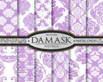 Wisteria Purple & White Damask Digital Backgrounds - Lilac Printable Scrapbook Paper Patterns