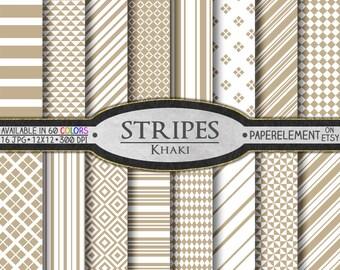 Khaki Striped Digital Paper Pack - Beige Scrapbook Paper - Buff Tone Neutrals