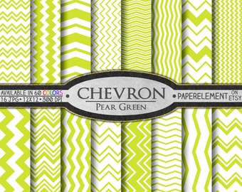 Pear Green Chevron Digital Paper Pack - Instant Download - Chevron Paper for Digital Scrapbooking