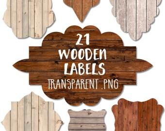 Wood Label Clipart: Wood Label Clip Art, Wood Clipart, Wood Clip Art, Wood Badges, Wood Digital Labels, Rustic Wood Overlay, Wood Planks