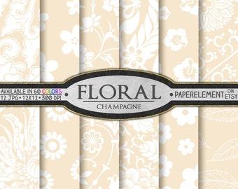 Champagne Floral Digital Paper: Cream Digital Paper, Ivory Digital Paper, Beige Digital Paper with Light Neutral Backgrounds, Sandy Fawn