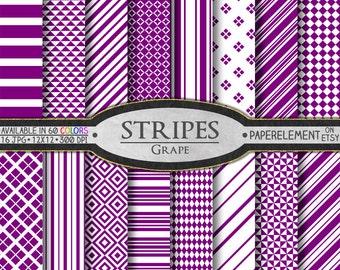 Grape Purple Stripe Digital Paper Set: Dark Purple Stripe Paper, Deep Purple Diagonal Stripes, Fruit Colors, White and Purple Geometric Art