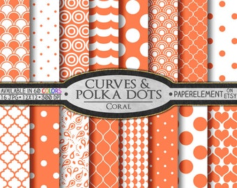 Coral Polka Dot Digital Paper: Coral Digital Polka Dot Background - Polka Dot Scrapbook Pages with Printable Coral Heart Shapes