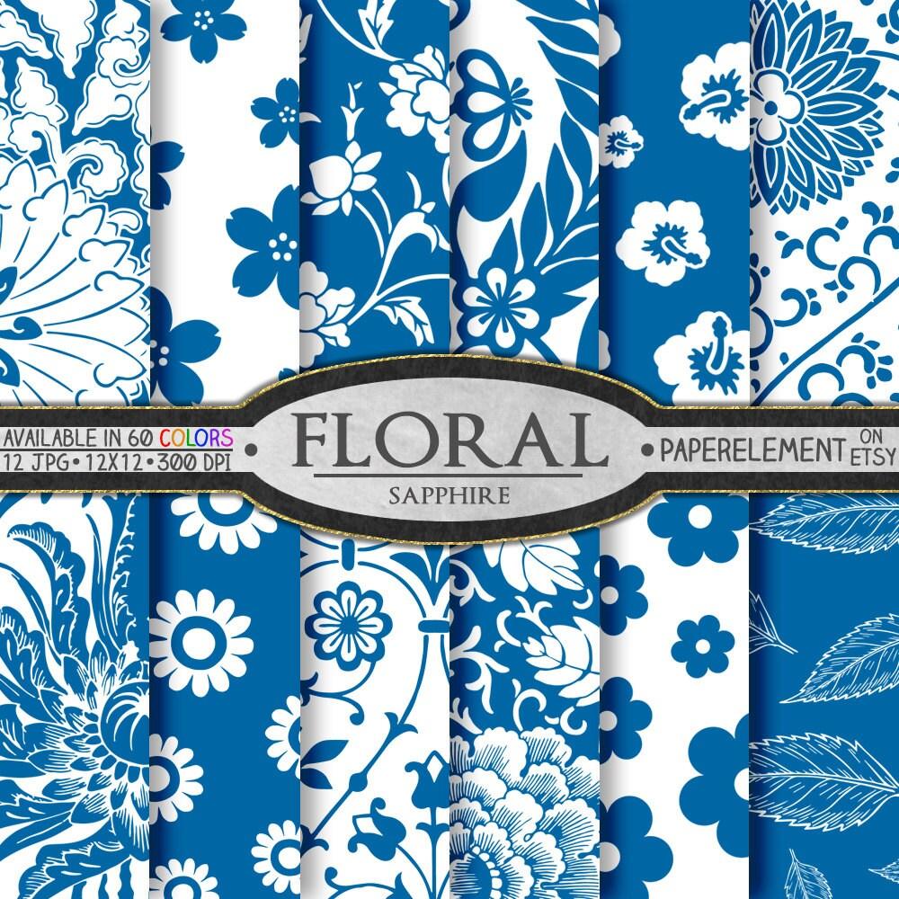 Sapphire Blue Digital Paper Blue Flower Paper Blue Floral Etsy