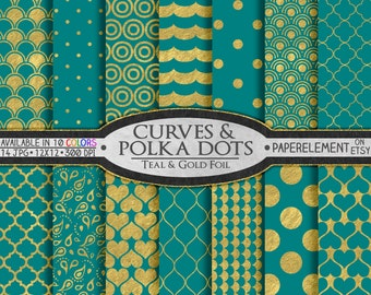 Teal and Gold Digital Paper: Gold and Teal Digital Paper, Teal and Gold Scrapbook Paper, Gold and Teal Scrapbook Paper, Teal Polka Dot Paper