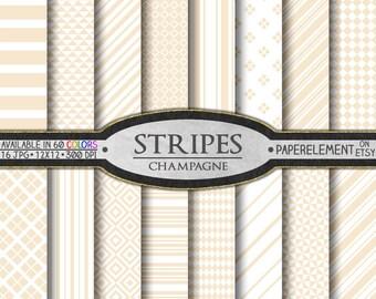 Champagne Stripes Digital Paper: Cream Stripes, Ivory Stripes, Beige Stripes, Neutral Stripes Backgrounds, Tan Stripes, Sandy Stripe Pattern