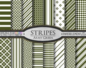 Army Green Stripe Digital Background Set - Printable Scrapbook Paper Patterns - Instant Download
