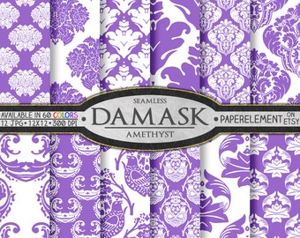Amethyst Purple Damask Digital Paper Pack with Purple Printable Damask Background - Purple Digital Damask Scrapbook Paper