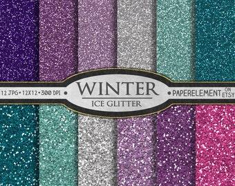 Glitter Digital Paper: Blue Glitter Paper, Pink and Purple Glitter Paper, Girly Glitter Backgrounds, Winter Digital Paper, Glitter Graphics