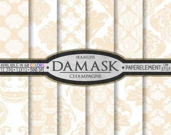 Champagne Damask Digital Paper Pack: Cream Damask Patterns, Ivory Damask Backgrounds, Beige Damask Backdrops, Neutral Digital Paper Prints