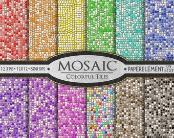 Mosaic Digital Paper: Glass Tile Mosaic Pattern, Mosaic Scrapbook Paper, Mosaic Background, Digital Mosaic Paper, Mosaic Instant Download