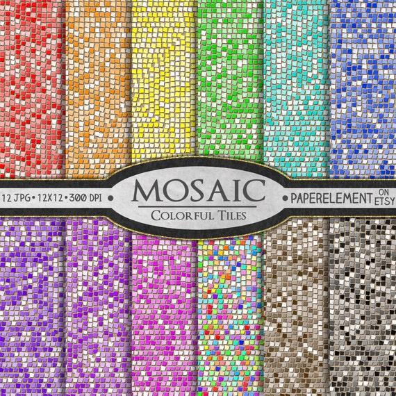 Mosaik digitalem Papier: Glas-Fliesen-Mosaik-Muster Mosaik