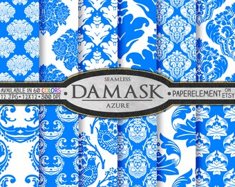 Azure Blue Damask Digital Paper with Printable Blue Damask Paper Patterns - Damask Scrapbook Backgrounds & Backdrops