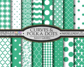 Mint Polka Dot Digital Paper - Mint Printable Geometric Patterns with Spearmint Polka-dots and Mint Scrapbook Backdrops