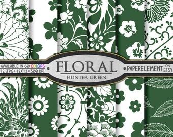 Hunter Green Floral Paper Pack for Scrapbooking - Digital Patterns - Printable Flower Backdrop - Instant Download