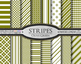 Olive Green Stripe Digital Paper: Green Stripe Paper, Drab Stripe Backgrounds, Olive Stripe Patterns, Yellow Green Scrapbook Paper Download