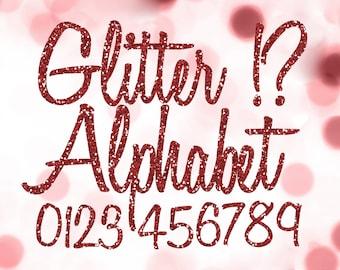 Red Glitter Alphabet Clipart: Digital Glitter Alphabet Clip Art, Red Glitter Letters, Large Glitter Letters, Ruby Digital Alphabet Letters