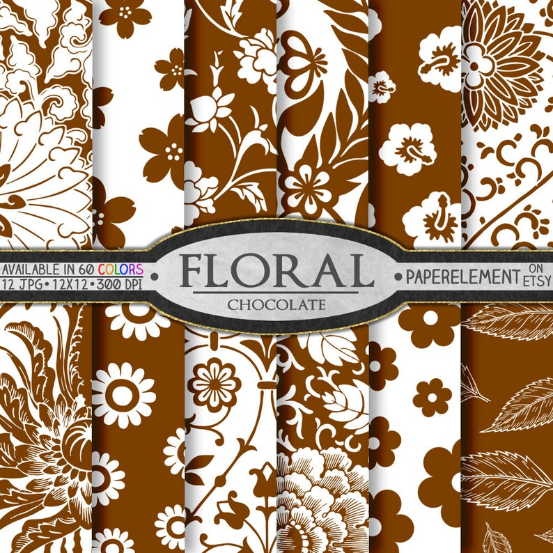 image relating to Printable Flower Patterns titled Chocolate Brown Floral Types: Brown Printable Bouquets, Brown Flower Web pages, Brown 12x12 Sbook Webpage, Brown Flower Electronic Obtain