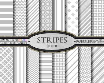 Silver Stripe Digital Paper Pack: Silver Diamond Shaped Patterns, Silver Stripe Paper, Light Gray Stripe Background, Silver Seamless Stripes