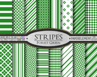 Forest Green Striped Digital Paper Pack - Instant Download - Stripes and Diamond Patterned Paper for Digital Scrapbooking
