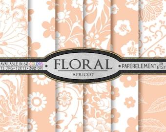 Peach Floral Digital Paper: Peach Flower Backgrounds, Apricot Floral Paper, Peach Floral Scrapbook Paper, Light Pink Floral Digital Download