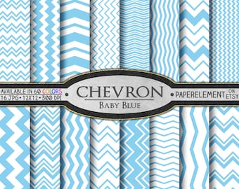 Baby Blue Chevron Digital Paper Pack - Instant Download - Digital Scrapbook Paper with Chevron Background