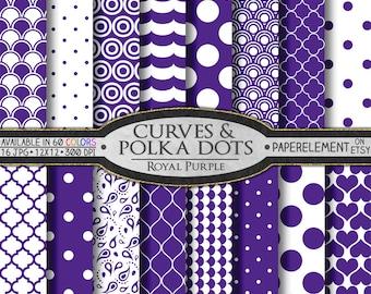 Royal Purple Polka Dot Digital Paper: Purple Geometric Shapes - Digital White and Purple Pattern Scrapbook Background