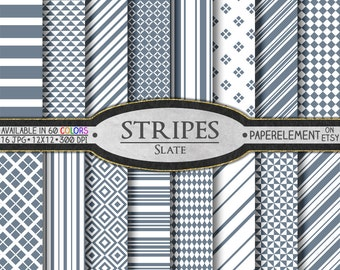 Slate Striped Digital Paper Pack - Instant Download - Stripes and Diamond Patterned Paper for Digital Scrapbooking