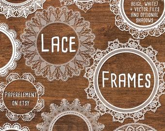 Digital Lace Clipart: Lace Clip Art, Lace Frame Clipart, Wedding Clipart Frames, White Lace Overlay, Black Lace Vectors Instant Download