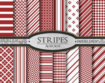 Auburn Red Stripe Digital Scrapbook Paper - Printable Background Set - Instant Download