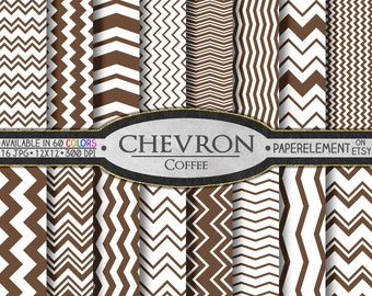 Coffee Chevron Digital Paper Pack - Instant Download - Chevron Paper for Digital Scrapbooking