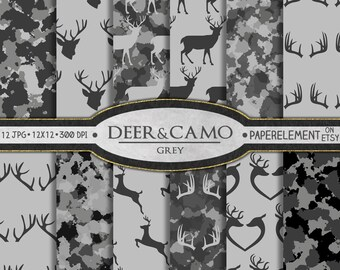 Grey Deer Digital Paper: Deer Scrapbook Paper, Gray Deer Backgrounds, Deer Printables, Camouflage Digital Paper, Deer Antlers and Camo Paper