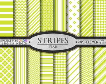 Pear Stripes Digital Paper Kit: Bright Yellow Digital Paper, Chartreuse Backgrounds, Bright Green Patterns, Greenish Yellow Scrapbook Paper