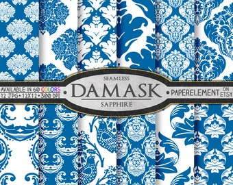 Sapphire Blue Damask Digital Paper Pack - Printable Backdrops for Scrapbooking and Birthday Cards