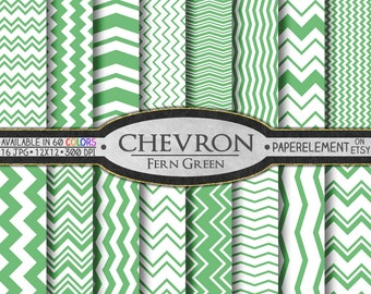 Fern Green Chevron Digital Paper Pack - Instant Download - Digital Scrapbook Paper with Chevron Background