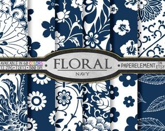 Navy Blue Floral Digital Paper: Navy Blue Scrapbook Paper, Navy Blue Digital Scrapbook Paper, Navy Blue Flower Background, Navy Floral Paper