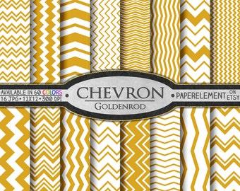Goldenrod Orange Chevron Digital Paper Pack - Instant Download - Chevron Paper for Digital Scrapbooking