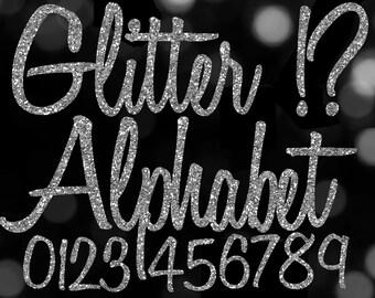 Digital Silver Alphabet Digital Clip Art, Silver Glitter Letters Digital Download, Digital Numbers, Silver Digital Letters Cursive Alphabet