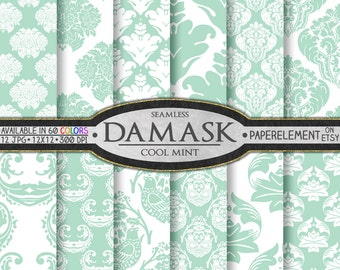 Pastel Mint Damask Digital Paper: Mint Green Damask Paper, Mint Damask Pattern, Mint Damask Backgrounds, Printable Mint Damask Wedding Decor