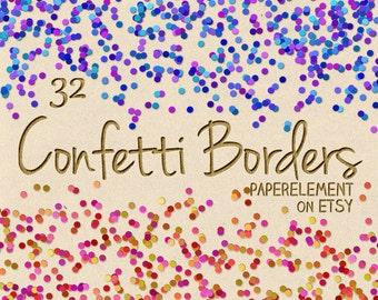 Confetti Clipart: Confetti Clip Art, Confetti Borders, Confetti Overlay, Confetti Graphics, Digital Confetti, Digital Clipart Commercial Use