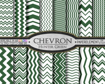 Hunter Green Digital Chevron Paper Pack - Instant Download - Printable Paper with Chevron Pattern for Digital Scrapbooking