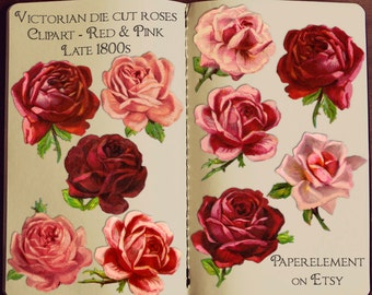 Red Rose Clipart: Rose Clip Art, Valentine Rose, Antique Roses, Victorian Rose, Pink Roses Clipart, Vintage Rose Graphics Flower Download