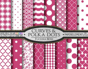 Rose Polka Dot Digital Paper - Printable Rose Patterned Paper - Pink Rose Geometric Digital Paper with Shell Scrapbook Backdrops