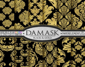 Digital Black and Gold Damask Digital Paper: Black and Gold Damask Paper, Gold and Black Printable Paper, Black and Gold Damask Background