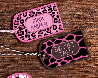 Digital Pink Animal Gift Tags: Printable Pink Gift Tags Animal Print Patterns - Animal Print Tags with Giraffe Print, Cheetah Print Download