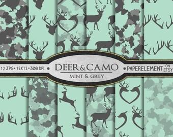 Mint Deer Scrapbook Paper: Mint Green Deer Digital Paper, Mint Deer Paper, Hunting Backgrounds, Hunter Patterns, Buck and Antler Graphics