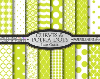Pear Polka Dot Digital Paper - Printable Pear Green Geometric Shapes with Yellow Green Quatrefoil Patterns for Scrapbook Papers