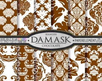 Brown Damask Digital Paper: Brown Damask Digital Backgrounds, Digital Brown Damask Paper, Chocolate Brown Damask Scrapbook Patterns 12x12