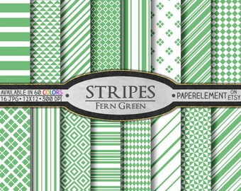 Fern Green Striped Digital Paper Pack - Instant Download - Stripes and Diamond Patterned Paper for Digital Scrapbooking
